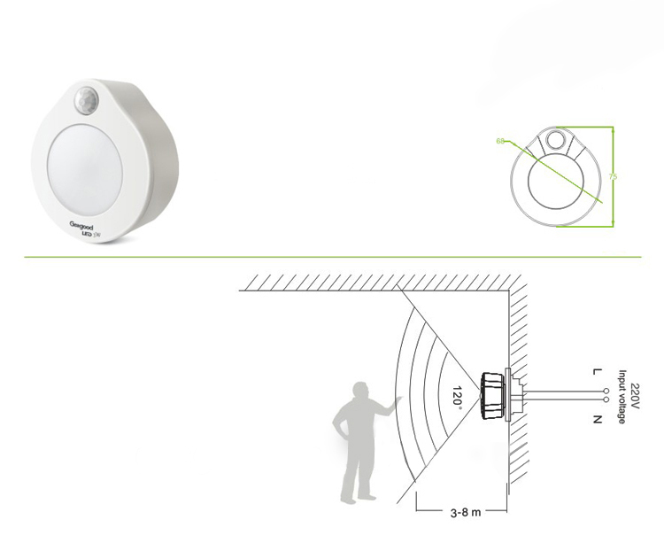 đèn cảm ứng phích cắm tiện lợi ss82b kawa