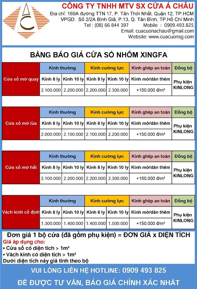 Bảng báo giá cửa sổ nhôm Xingfa