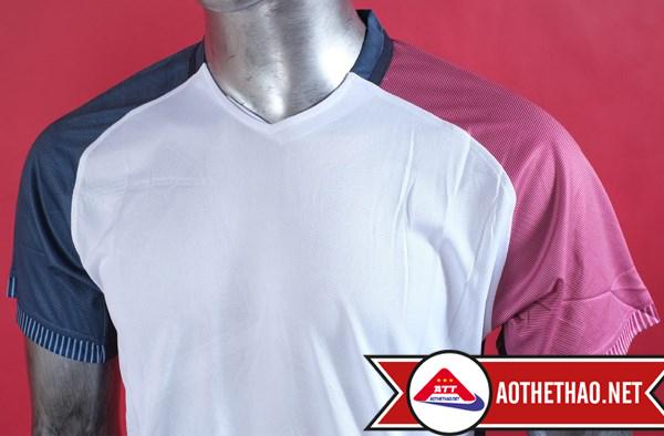 Mặt trước và mặt sau áo bóng đá đội tuyển Pháp trắng Không logo