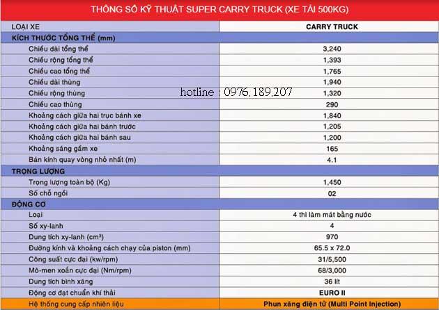 thông số kỹ thuật của xe suzuki carry truck 550kg