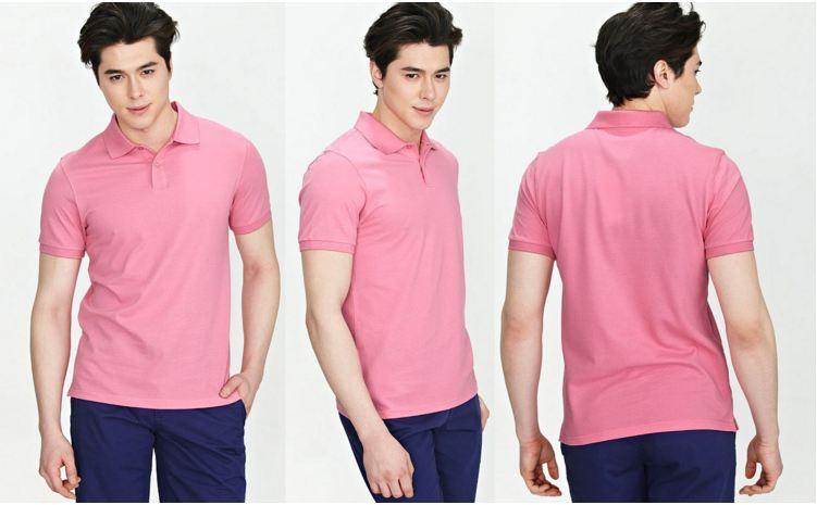 Áo thun công sở nam màu hồng nhạt cao cấp 04