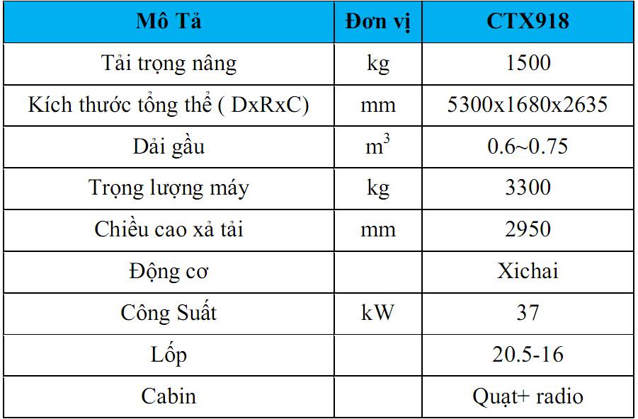 Thông số xe xúc lật mini CTX918