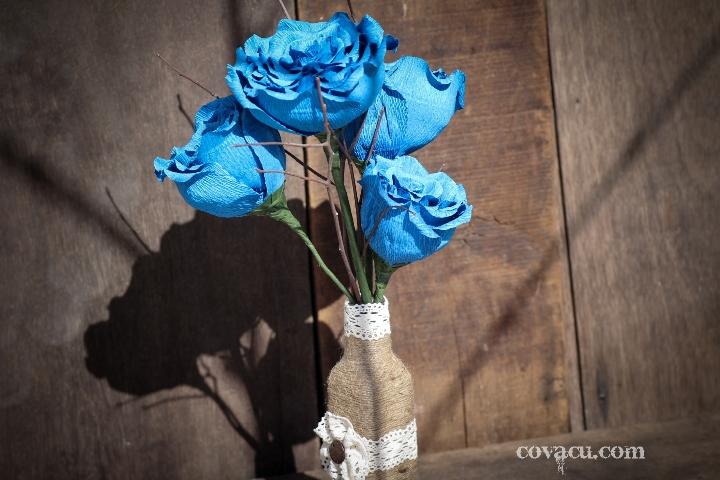 Hoa handmade giấy xanh vintage