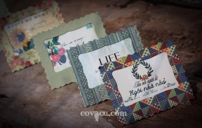Thiệp handmade với giấy hoa văn vintage