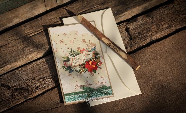 Thiệp giáng sinh handmade lớn Joy to the World