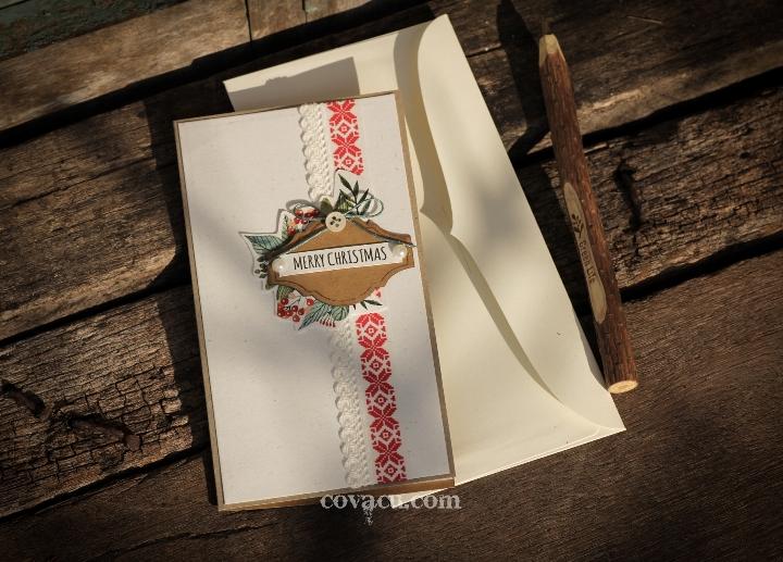 Thiệp noel handmade lớn Merry Christmas