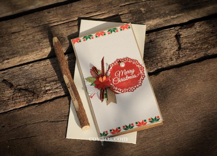 Thiệp noel handmade lớn Merry Christmas tag đỏ