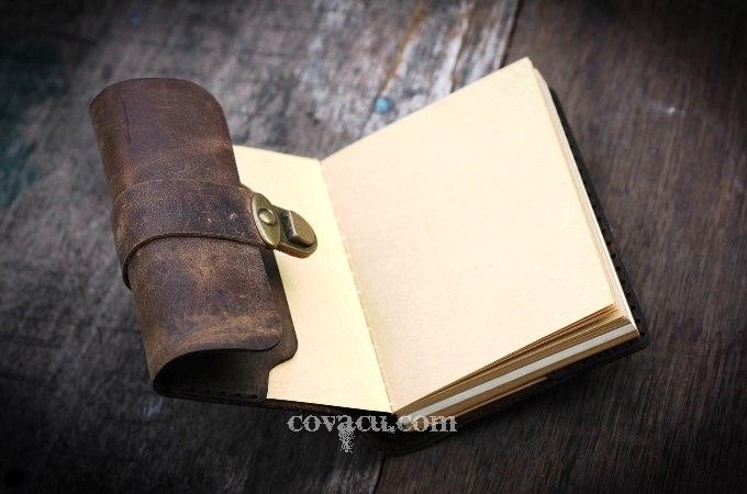 Sổ tay da bò thật cao cấp may tay (handmade) và cắt bằng lazer.
