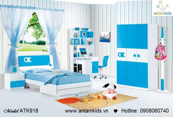 Phòng ngủ cho bé trai màu xanh nước biển tuyệt đẹp | Phòng ngủ trẻ em, giường ngủ trẻ em AnTamKids.vn