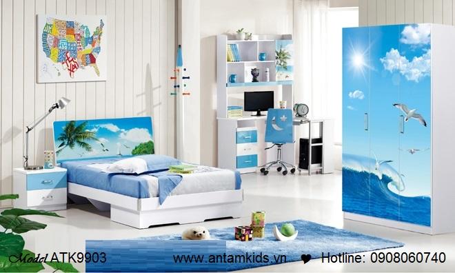 Phòng ngủ trẻ em màu xanh phong cảnh biển tuyệt đẹpi | AnTamKids.vn