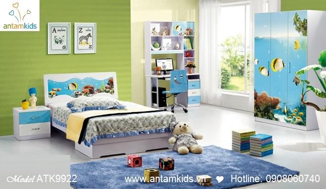 Phòng ngủ trẻ em 3D hoạt hình cho bé trai bé gái hình cá vàng | AnTamKids.vn