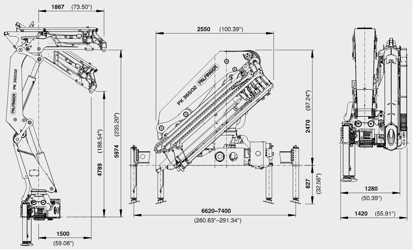 Kích thước lắp đặt cẩu PK36502