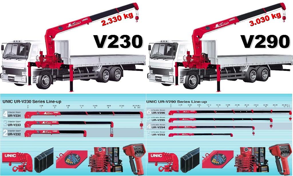Cung cấp cẩu Unic V230 và V290 lắp trên xe tải nhẹ