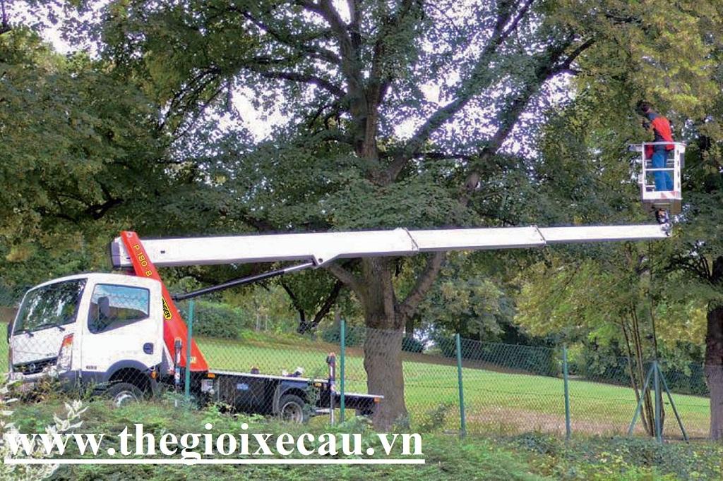 Xe nâng người 8m cắt tỉa cây xanh