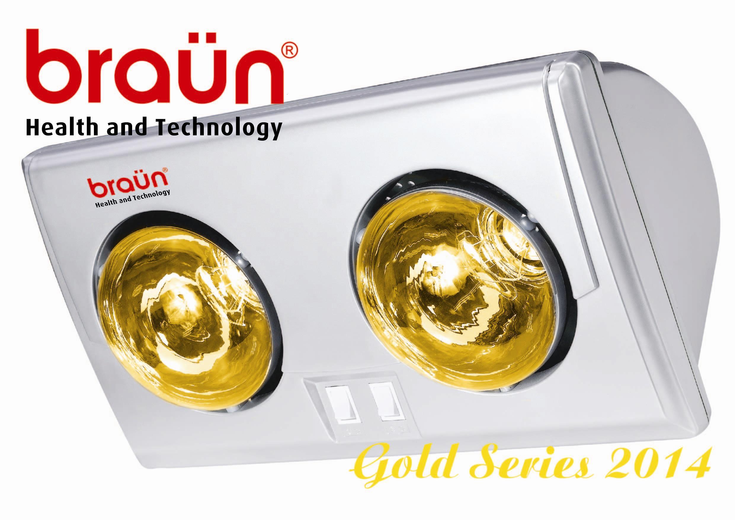 Đèn sưởi nhà tắm Braun 2 bóng vàng