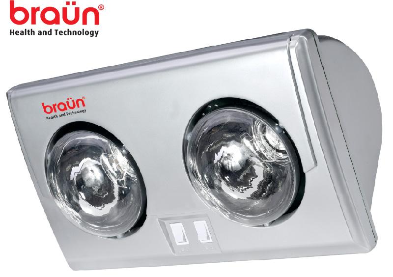Đèn sưởi nhà tắm Braun 2 bóng Bu02