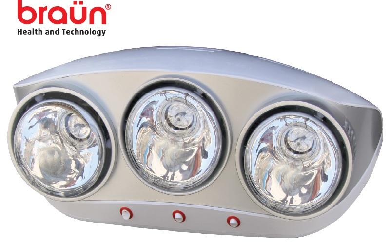 Đèn sưởi nhà tắm Braun 3 bóng bạc