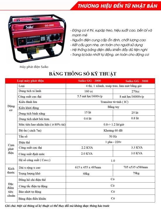 Thông số kỹ thuật máy phát điện Saiko