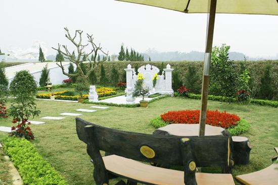 Một khuôn viên được gia chủ trồng nhiều loại hoa lạ