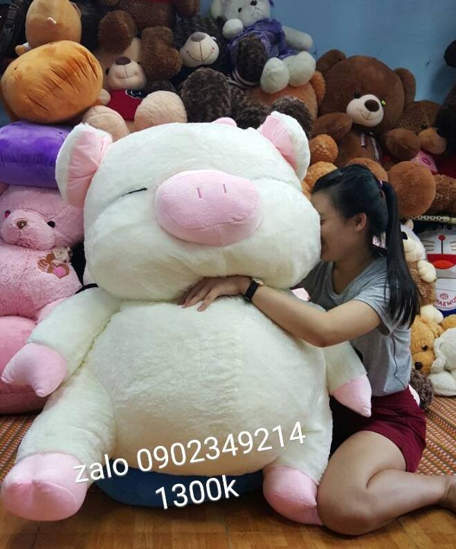 Heo bông Hana nhồi trắng hồng 05