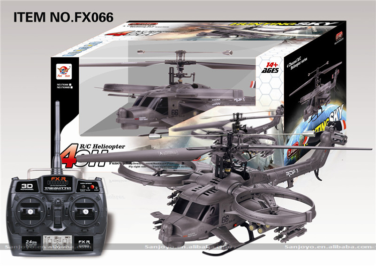 FX066 Avatar Gunship 4CH RC Helicopter w / Gyro ngoài trời RC copter