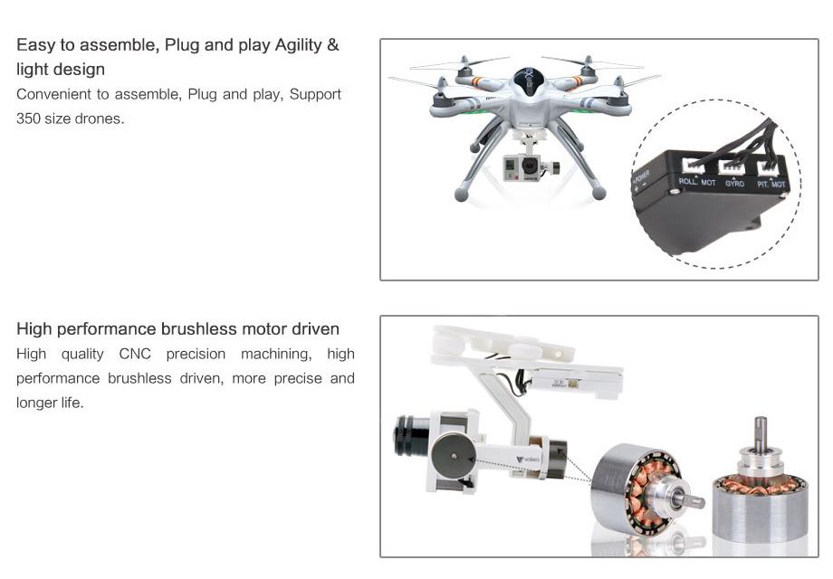 Walkera G2D 2 Axis Brushless Gimbal GoPro camera 3/4 QR X350 Pro DJI Phantom FPV -hobbygo.com.au