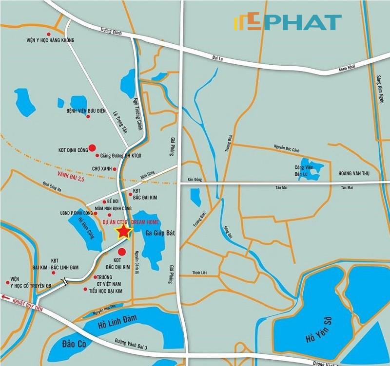 Vị trí dự án CT36 Dream Home Định Công