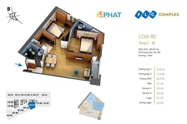 Mặt bằng căn hộ chung cư FLC 36 Phạm Hùng