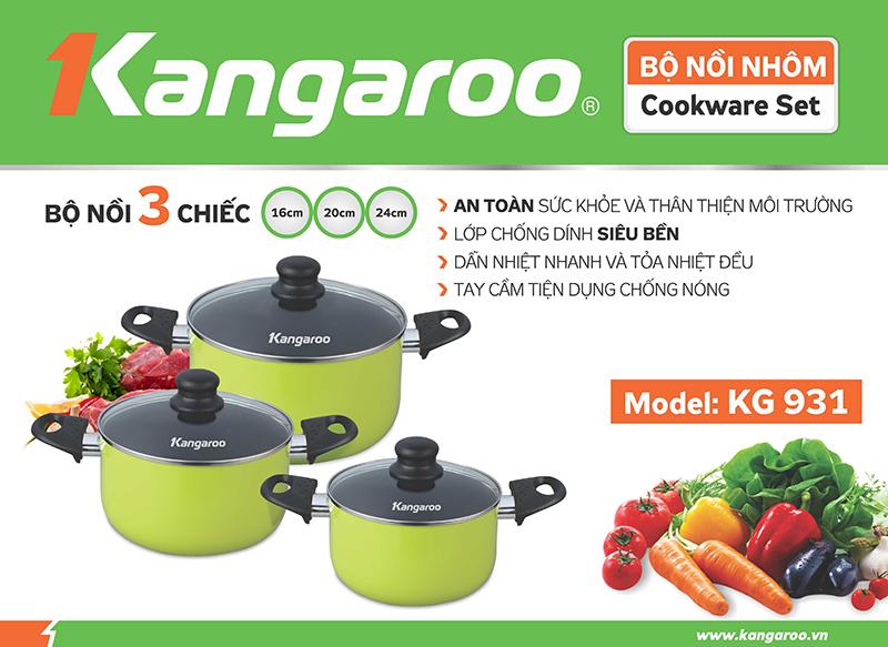 Kangaroo Panci 3 Set Hijau – KG931