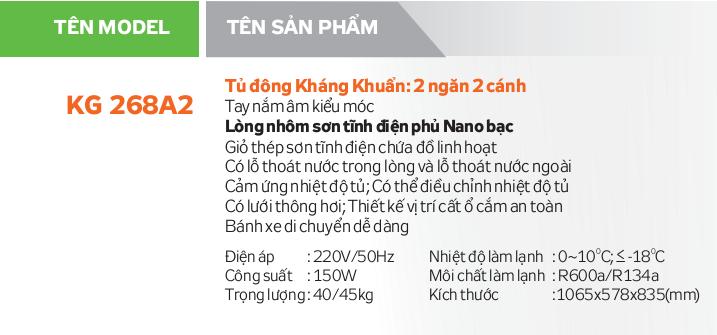 Thông số kỹ thuật Tủ đông Kangaroo KG268A2