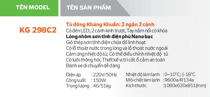 Thông số kỹ thuật Tủ đông Kangaroo KG298C2