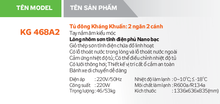 Thông số kỹ thuật Tủ đông Kangaroo KG468A2