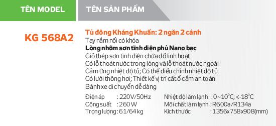 Thông số kỹ thuật Tủ đông Kangaroo KG568A2