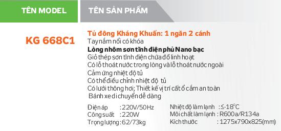 Thông số kỹ thuật Tủ đông Kangaroo KG668C1