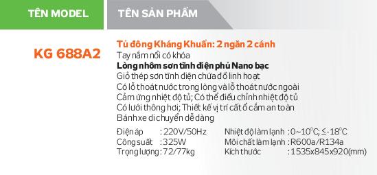Thông số kỹ thuật Tủ đông Kangaroo KG688A2