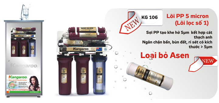 Máy lọc nước Kangaroo 6 lõi vỏ tủ inox + đèn UV KG106