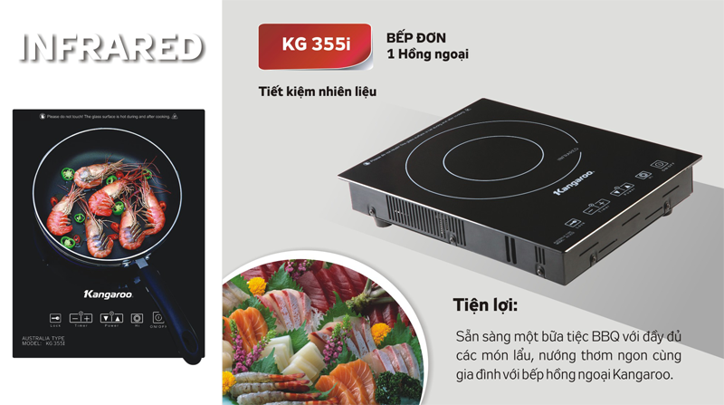 Bếp hồng ngoại đơn Kangaroo KG355i