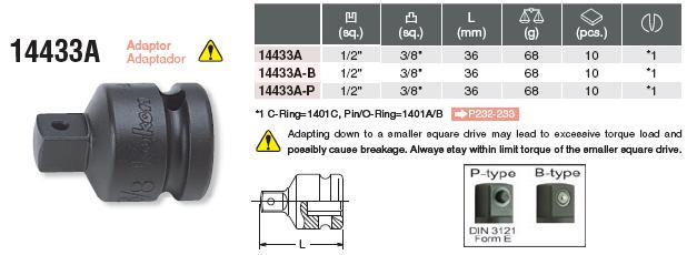 Đầu chuyển 1/2 inch, đầu chuyển 1/2 inch sang 3/8 inch, Koken 14433A,