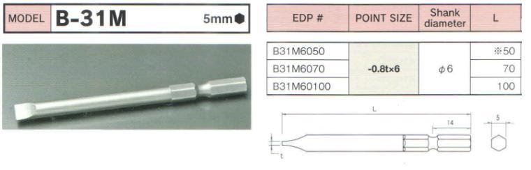 Đầu bits 2 cạnh, BiX B-31M, thanh vặn vít 2 cạnh, đầu bits thân lục giác 5mm