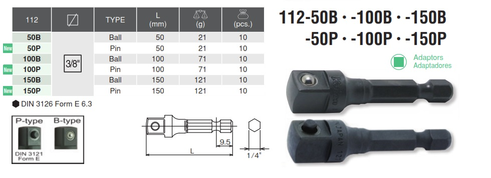 Đầu chuyển bits sang nối khẩu 3/8 inch, Koken 112-50B, thanh chuyển bit sang khẩu 3/8 inch