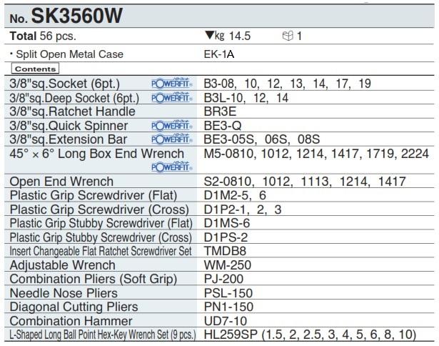 Bộ dụng cụ nhập khẩu, bộ đồ nghề sửa chữa, KTC SK3560W, bộ dụng cụ 556 chi tiết