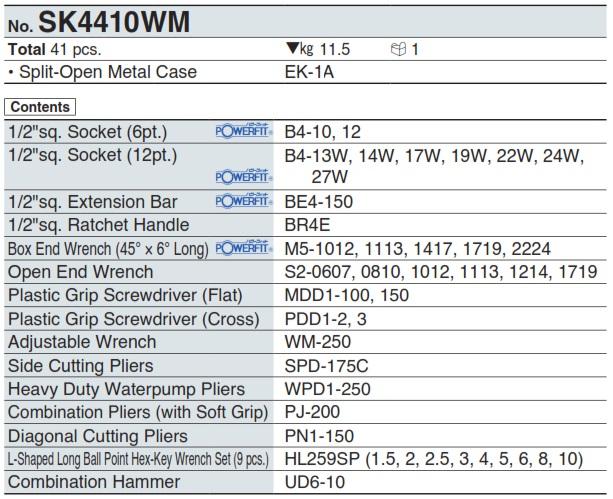 Bộ dụng cụ SK4410WM, bộ dụng cụ với 41 chi tiết của KTC Nhật