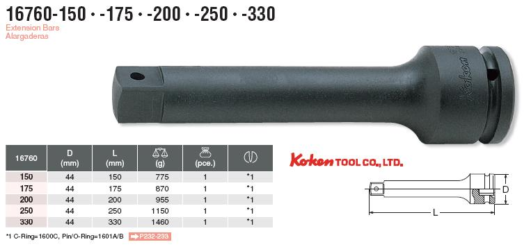 Thanh nối dài 3/4 inch, Koken 16760-200, Koken 16760-250