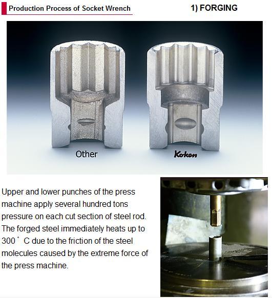 Công đoạn dập nóng tạp ra sản phẩm đầu khẩu Koken