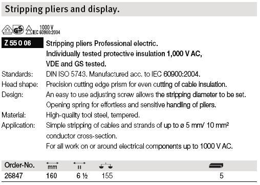 Kìm tuốt dây điện Wiha, 26847 Wiha, kìm tuốt dây đến 5mm, tuốt dây đến 10mm2