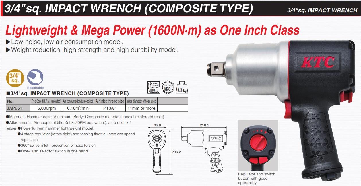 Dụng cụ vặn ốc 3/4 inch, KTC JAP651, súng vặn ốc với moment đến 1600Nm