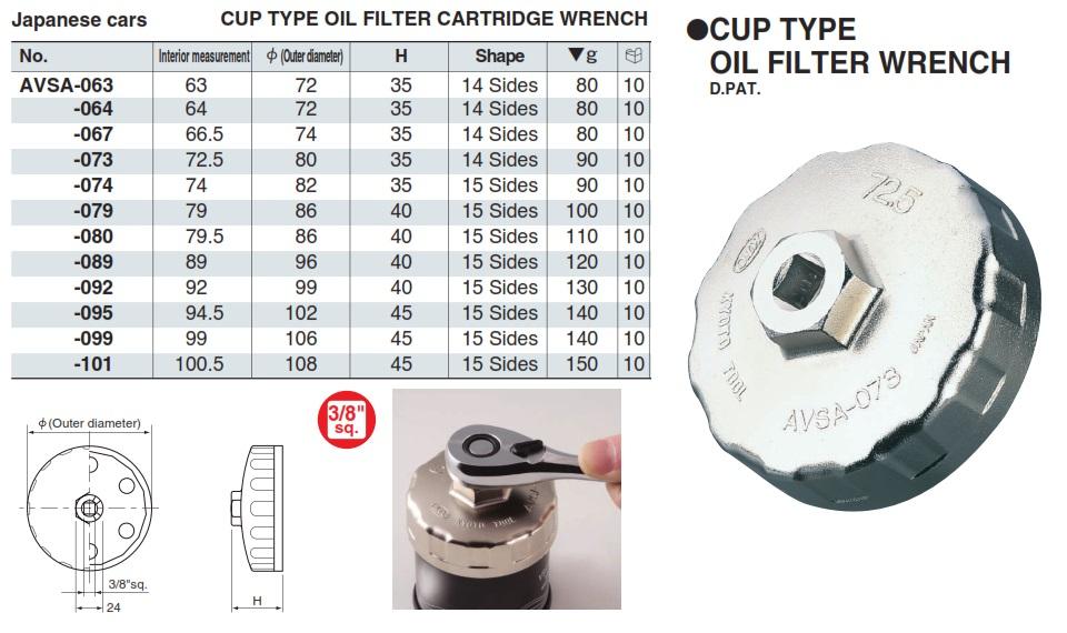 Bát tháo cốc lọc dầu AVSA, bát tháo cốc lọc dầu từ 63 đến 101, AVSA-063, AVSA-074