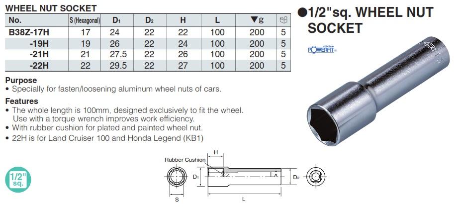 Tuýp vặn ốc bánh xe B38Z-19H, KTC B38Z-21H, đầu khẩu 1/2 inch vặn ốc bánh xe ô tô