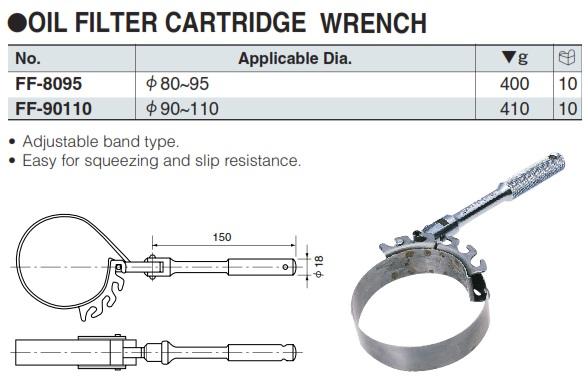 Đai thép tháo cốc lọc dầu, KTC FF-8095, FF-90110