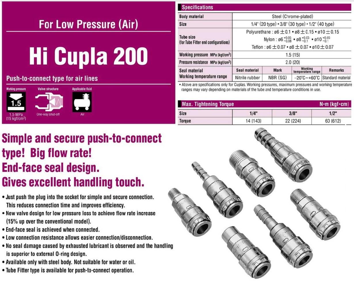 Khớp nối nhanh Nitto 200-20SM, 200-30SM, nối nhanh bằng 1 tay